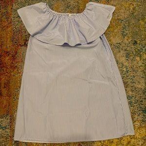 Dresses & Skirts - Blue and white stripe off the shoulder dress
